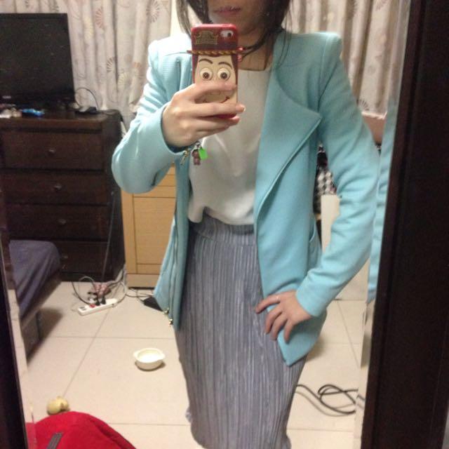 水藍西裝外套(正韓)
