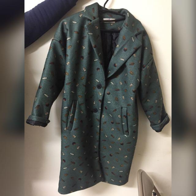 日古著特色圖案長版深綠翻領大衣外套
