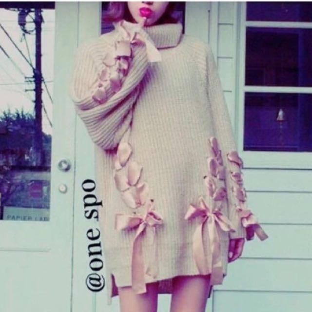 日本帶回來❤️甜美緞帶蝴蝶結毛衣(粉紅)