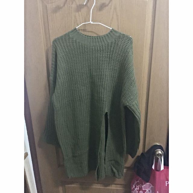 長版前開衩毛衣針織衣