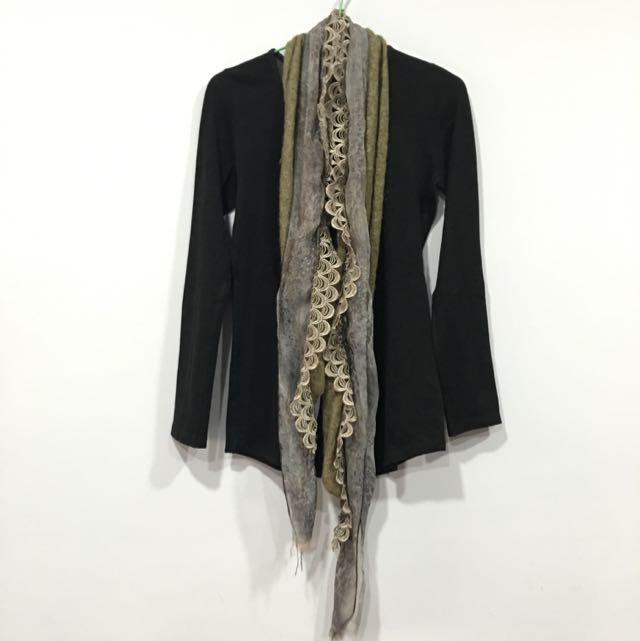 二手✌️質感豹紋雪紡拼接針織圍巾