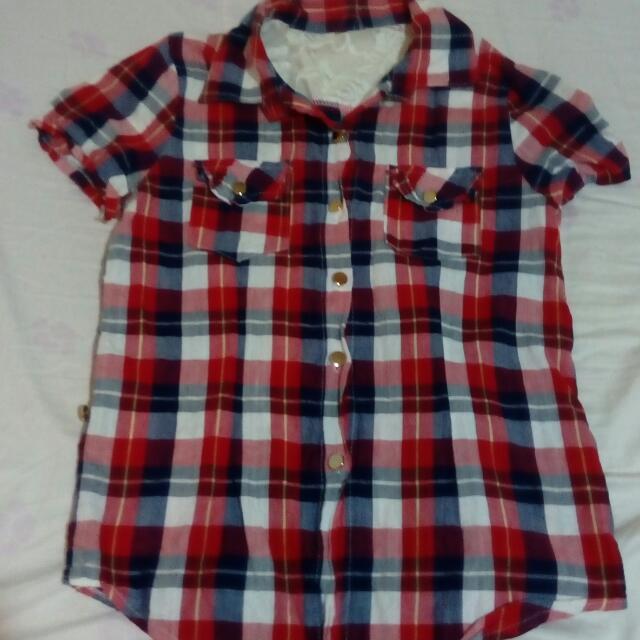 短袖蕾絲格子襯衫