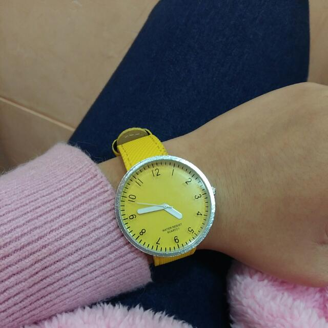 黃色韓版手錶