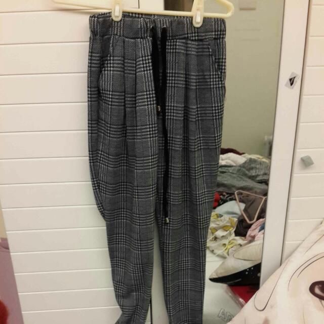 千鳥格紋棉褲