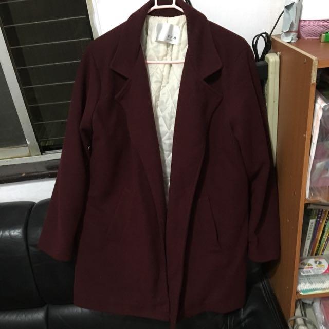 正韓酒紅色西裝外套
