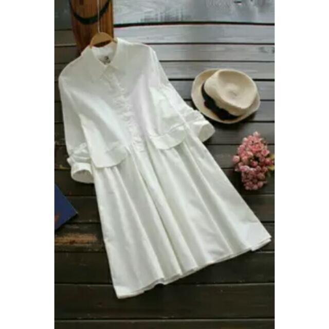春裝甜美日系顯瘦長袖襯衫連身裙