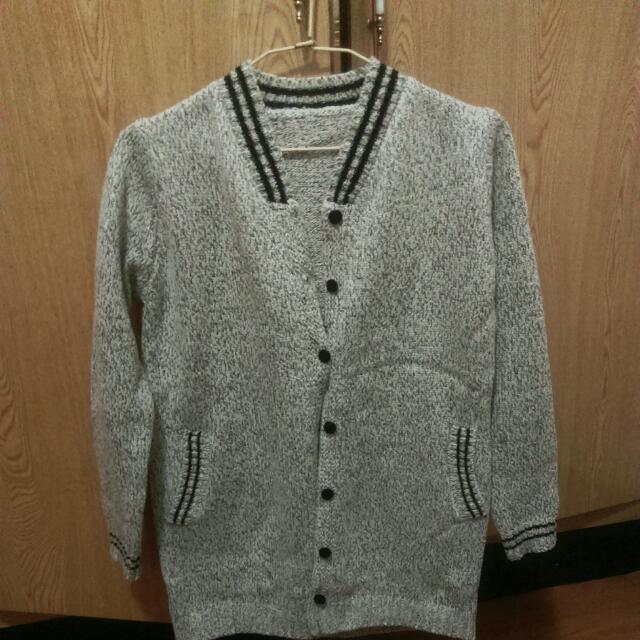 (含運)雙線造型混色毛線鉤織外套
