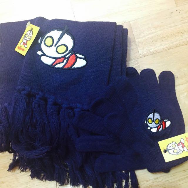 保暖鹹蛋超人圍巾手套組