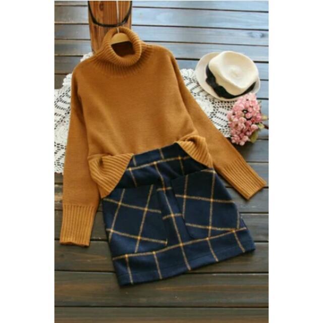 日韓文藝素面套頭高領針織毛衣上衣 2色