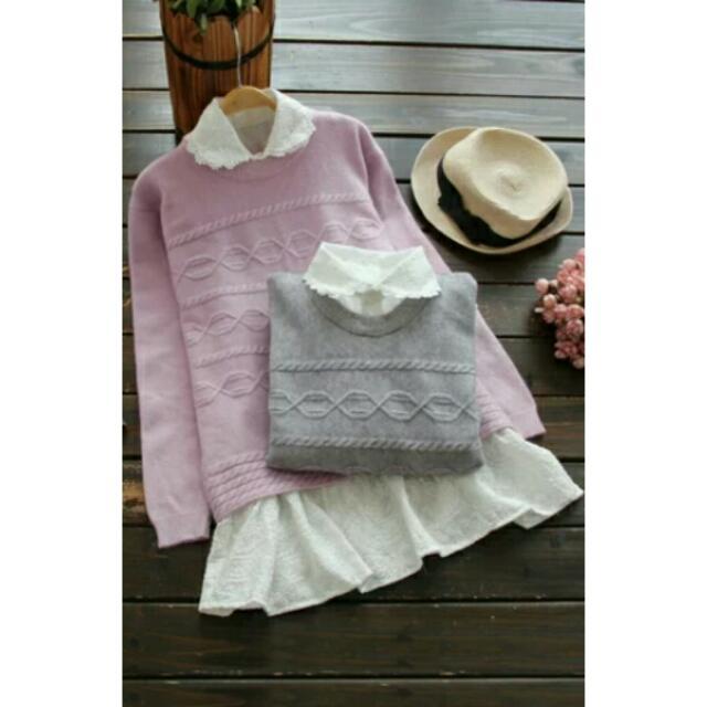 日韓針織毛衣+刺繡棉布兩件式 2色