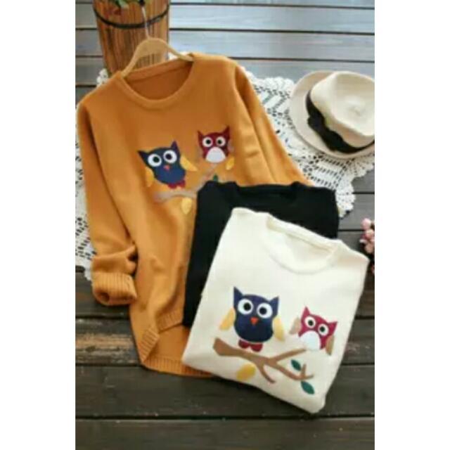 韓系森林風貓頭鷹卡通圖案長袖圓領針織毛衣 3色