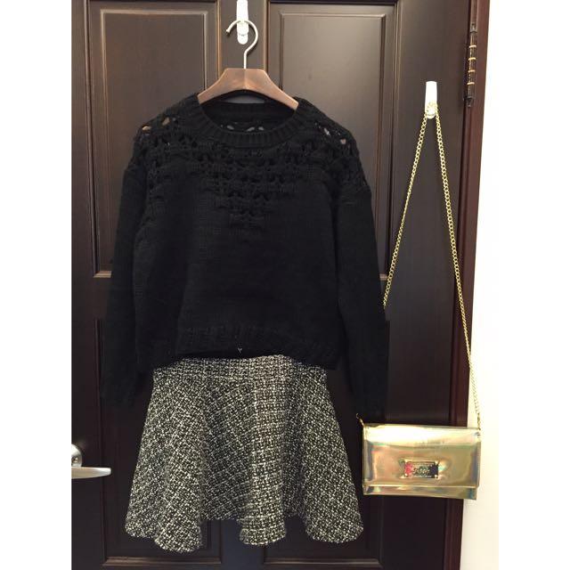 現貨⚡️厚針織壓花紋上衣 黑色
