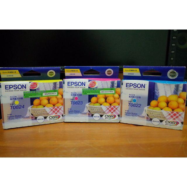 [售] EPSON 彩色墨水匣 T0822(藍)+T0823(紅)+T0824(黃)不分售,再送原廠拼圖相框
