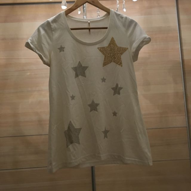 [二手]日本 gaminerie 白色貼鑽星星上衣
