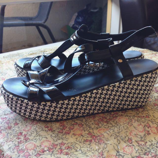 Chequered Platform Sandals | Size 7