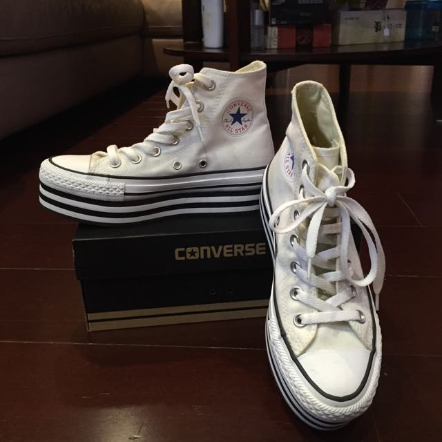 Converse增高鞋 厚底鞋 鬆糕鞋 白色