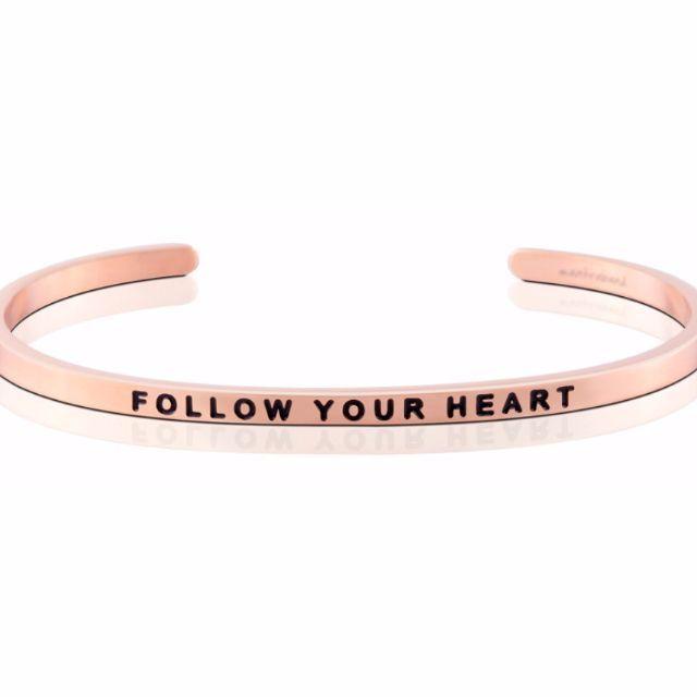 Follow Your Heart 玫瑰金色 Mantraband悄悄話手環