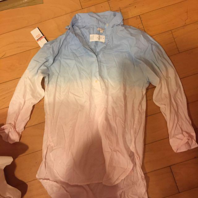 Gap長板 襯衫 漸層粉嫩色 原價近兩千 全新 尺寸S