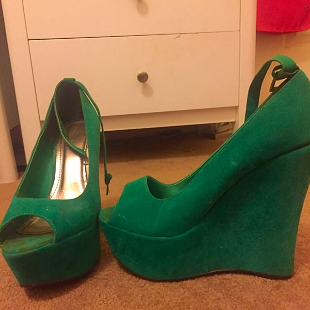 Green Velvet Peep Toe Wedges