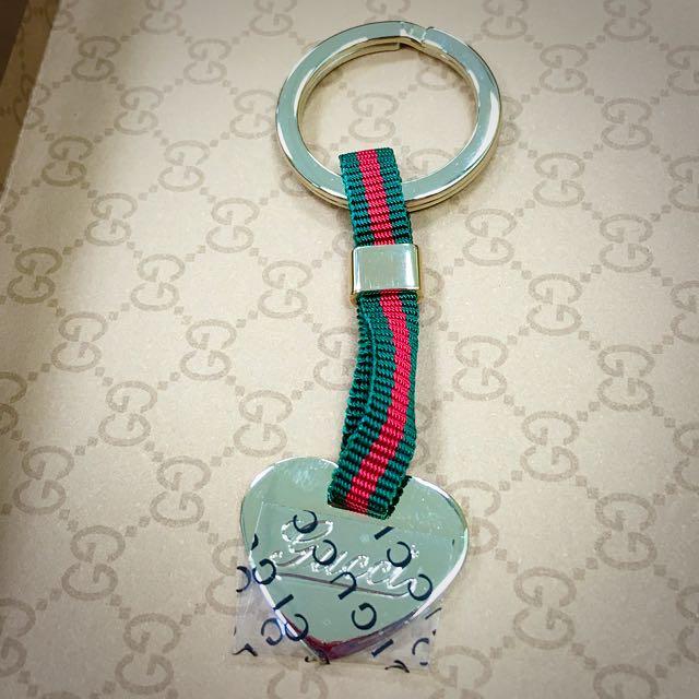 【全新品】Gucci經典綠紅帶鑰匙圈