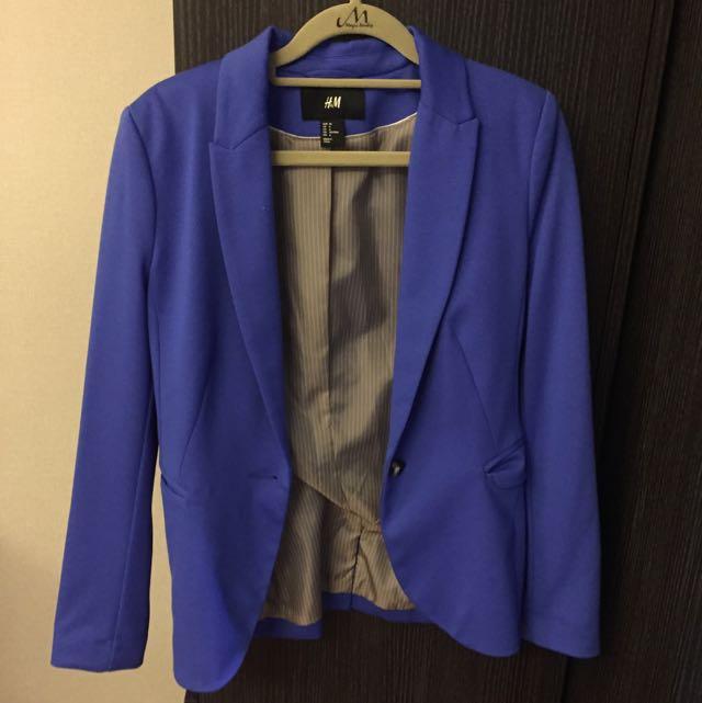【二手】H&M寶藍色墊肩西裝外套
