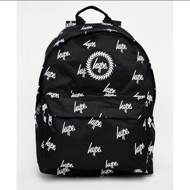 【現貨】HYPE 滿版logo 黑底 白字 電繡 後背包 書包 大學