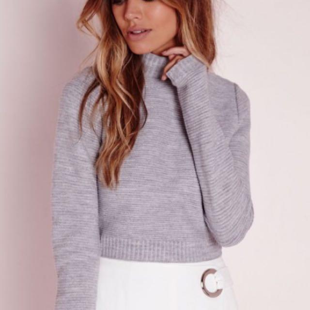 27ab3e329eaa8c Long Sleeve Turtle Neck Crop Jumper Grey, Women's Fashion on Carousell