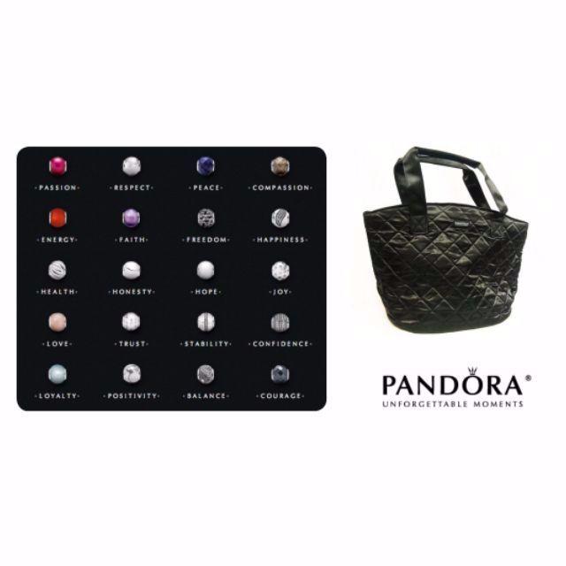 PANDORA 潘朵拉菱格緞面托特手提袋
