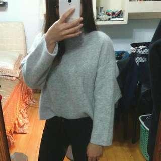 全新灰色 高領針織毛衣