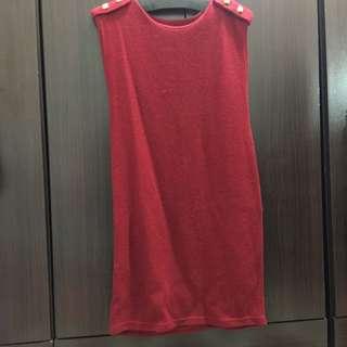 二手長版針織紅色毛線衣