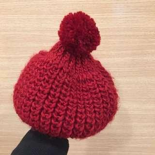🔸二手🔹紅 針織毛線貝蕾帽 新年