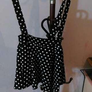 復古黑白點點吊帶裙