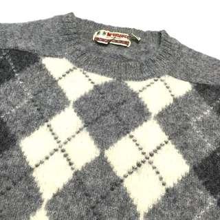 《gooddo•古著》清倉特價💫日本淺灰菱格毛衣