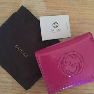 GUCCI Soho 莓紅色短夾 皮夾 9.5成新