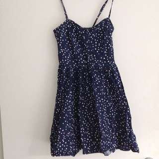 White And Navy Heart Dress