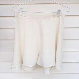 Cream Silk Flowy Shorts