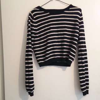 Stripped Cropped Knit Jumper