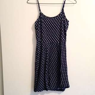 Navy Blue Patterned Dress