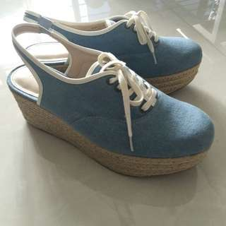 Charles And Keith Casual Slingback Wedges Platform Shoes Size 40