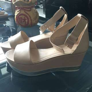 BN Charles And Keith Platform Shoes Nude / Size 37 / 7