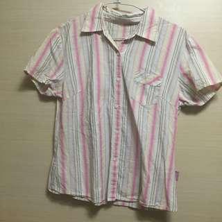 粉色條紋短袖襯衫
