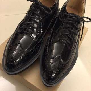 全新黑色厚底牛津靴