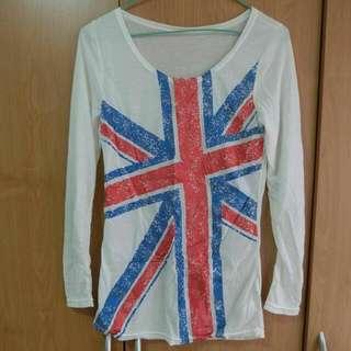 白色英國國旗 造型長袖T