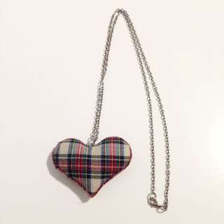 Plaid Heart Necklace 頸鏈
