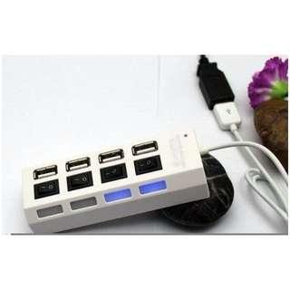 【世明3C】4口HUB擴展 usb2.0 4口USB HUB 1拖4 / 1分4獨立開關帶燈集線器帶電源燈