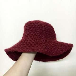 全新 粗針織 毛帽 圓帽 暗紅