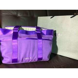 agnes b 紫 托特包 帆布