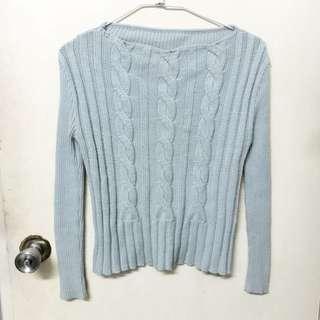 全新 柔軟 細針織 毛衣 淺藍 水藍 麻花