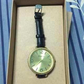 金錶 黑皮帶(全新未戴)(附包裝盒)