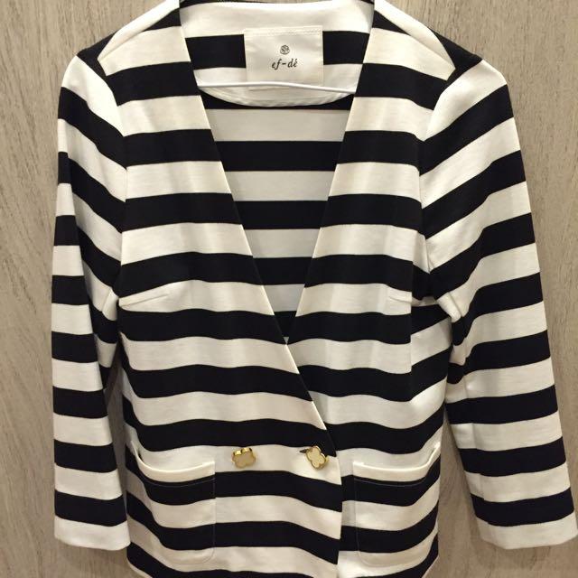 專櫃黑白條紋全新7分小外套